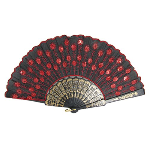 Sequins Floral Pattern Cloth Dancing Hand Fan Red Black