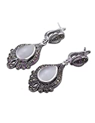 Qiyun Women's Drop Oval Palm Shape Lucky Totem Carved .925 Sterling Silver Stud Earrings - Opal