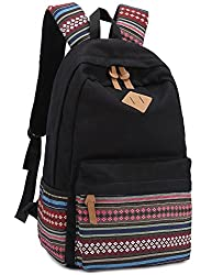 Leaper Causal Style Lightweight Canvas Laptop Bag/ Shoulder Bag/ School Backpack/ Travel Bag/ Handbag with Embroidery Design