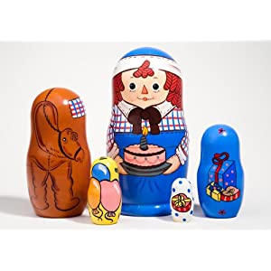 RAGGEDY ANDY Birthday Russian Nesting Doll 5pc./6