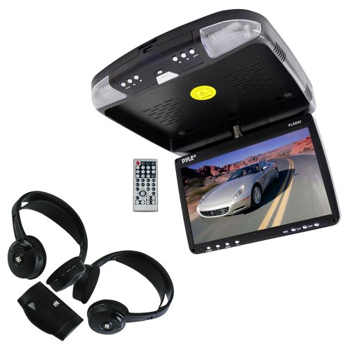 Vehicle Monitor Receiver And Dual Headphones Package - Plrd92 9'' Flip Down Roof Mount Monitor & Dvd Player With Wireless Fm Modulator/ Ir Transmitter - Plvwh6 Dual Wireless Ir Mobile Video Stereo Headphones W/Transmitter (Pair) For Car, Van, Truck, Bus,