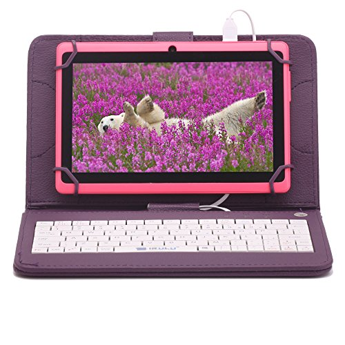 """Irulu Hd Screen Q8 7"""" Android Tablet With Keyboard Case, Android 4.2 Jelly Bean Os, 1024*600 Hd Screen With 5 Point Capactive Touch, Allwinner A23 Dual Core Cpu, Dual Cameras(0.3/2Mp), 8Gb Storage - Pink Tablet With Purple Keyboard Case"""