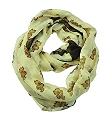 WishCart Infinity Loop Scarf For Womens and Girls ,Circle Neck Wrap ,Animal Printing-Beige Owl