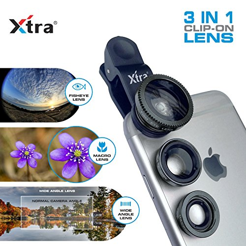 XTRA Universal Clip-On 3 in 1 Mobile Cell Phone Camera Lens Kit, 180 Degree Fisheye Lens + 0.67X Wide Angle + 10X Macro Lens, With Lens Clip Holder, Black (Lg3 Cell Phone Accessories Cases compare prices)