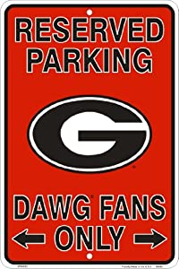 Buy Georgia Bulldogs Fans Reserved Parking Sign Metal 8 x 12 embossed by Tag City