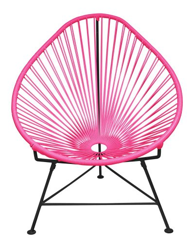Innit Designs Baby Acapulco Chair, Pink Weave on Black Frame