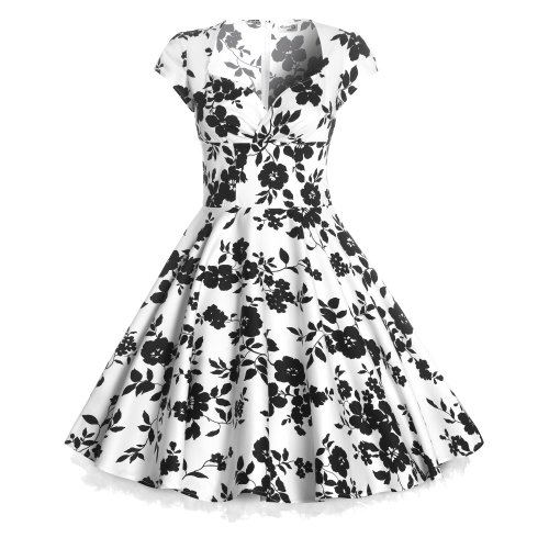 New 50s Ladies Floral Print Full Circle Pinup Vintage Style