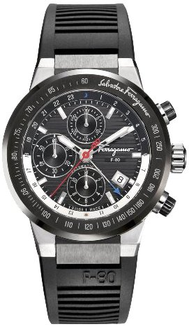 Ferragamo Men's F55LCA78910 S113 F-80 Swiss Automatic Chronograph Black Dial Ceramic Bezel Watch