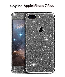Heartly Sparking Bling Glitter Crystal Diamond Protective Film Whole Body Phone Skin Sticker For Apple iPhone 7 Plus (Not For iPhone 7) - Greyish Black