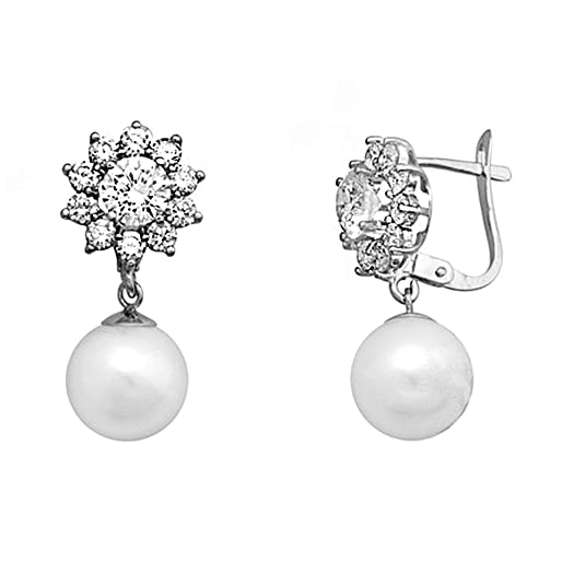 18k white gold earrings pearl 9-9.5mm long. zircons [AA5132]