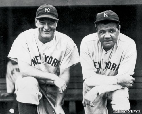 Babe Ruth And Lou Gehrig Daily News Mlb New York Yankees 8X10 Black And White Photo