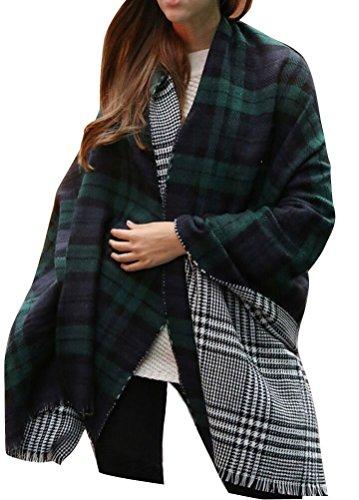 Minetom Sciarpa, Moda Donna Inverno Caldo Foulard Plaid Sciarpa Scialle Lungo Morbidi Sciarpe Wraps ( Verde 2 )