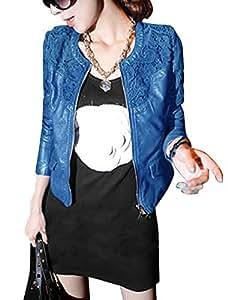 Lady Zip Up Crochet Panel Casual Imitation Leather Jacket