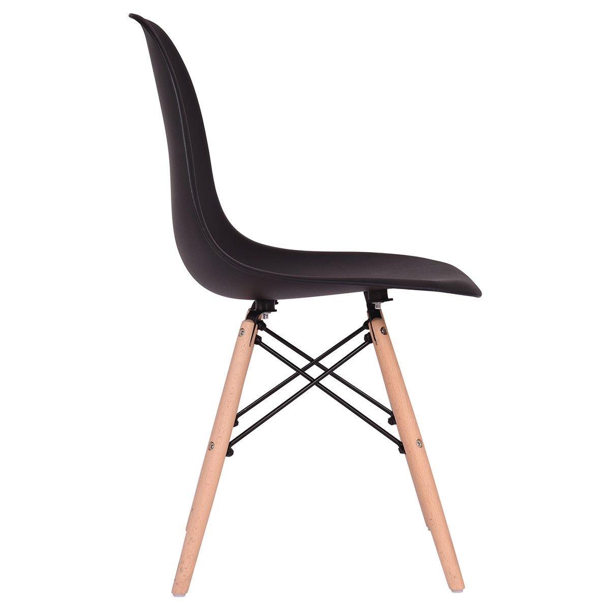 Giantex Set of 4 Mid Century Modern Style DSW Dining Chair Side Wood Leg (Black)