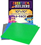 Creative Builders - Our Best 6 pack Green+Blue+Grey Variety Base Plates | Large 10