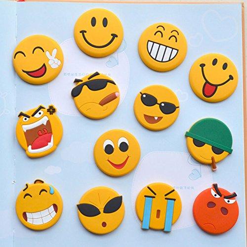 Carlie 12PCS Lovely Emoji Smile Face Magnets Sticker Fridge Magnets Refrigerator magnets (emoji) (Emoji Fridge Magnets compare prices)