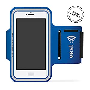 """Vest Anti-Radiation Running Sports Armband Case Cover Holder For 5"""" Screen Blue"""