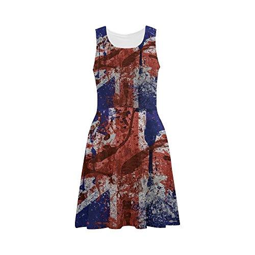 iHomeStore UK Flag Custom Summer Sundress Sleeveless Casual Fit Vest Dress L