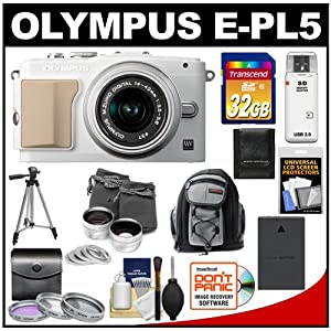 Olympus PEN E-PL5 16.1 MP Digital Camera Body & 14-42mm II R Lens (White/Silver) with 32GB Card + Battery + Backpack + 3 Filters + Lens Set + Tripod + Accessory Kit