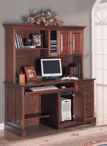 Elegant Home Office Computer Workstation Desk with Hutch
