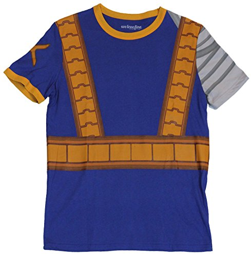 [X-Men (Marvel Comics) Mens T-Shirt - Cable Classic Costume Front Image (Small) Blue] (Marvel Cable Costume)