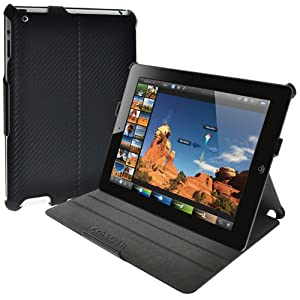 Amzer Shell Portfolio Case Cover for Apple iPad 3, The new ipad 3rd Gen - Black Carbon Fibre Texture