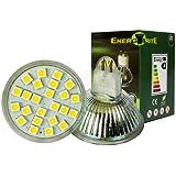 EnergyBrite, MR16 5W 12v LED Bulb 24x 5050SMD LED's GU5.3 Warm White 3000k--120Beam Angle--50-60W Equivalent--Ø50×50mm Same Size as Halogen,Energy Saving