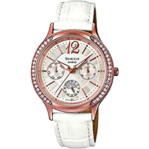 Casio SHE-3030GL-7AUER Ladies Sheen White Leather Strap Watch