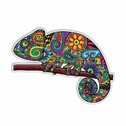 MeganJDesigns Chameleon Car Sticker Colorful Design Bumper Sticker Laptop Decal Lizard Jungle Flowers Cute Car Decal Hippie Boho Wall Decal Laptop Sticker (Colorful Flower Car Decals compare prices)