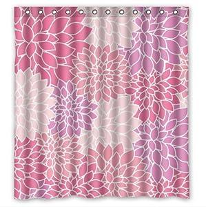 Light pink purple dahlia floral peva shower for Light pink shower curtain