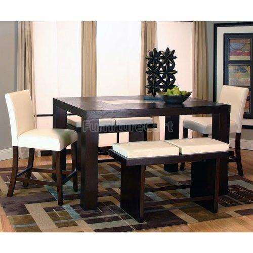 Kemper Rectangular Counter Height Dining Set w/ Ivory Chairs 25310-72