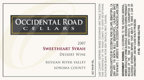 2007 Occidental Road Cellars Sweetheart Syrah Dessert Wine Russian River Valley 375 Ml