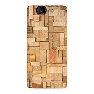 Impressive Wood Blocks Pattern Back Case Cover for Canvas Knight A350