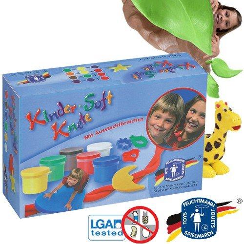 Feuchtmann 628-0517 Kinder Soft Knete Knetgummi Set 6 Dosen Knetmasse sortiert inkl. Ausstechförmchen, sehr hochwertig trocknet an der Luft zum Bemalen, Allergiker geeignet