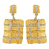 Dilan Jewels PEACE Collection Royal Golden Silver Square Dangle Earrings For Women