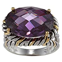 Sterling Silver Two-Tone Amethyst Oval CZ Ring (Available in sizes 7 through 9) by Beaux Bijoux
