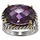 Sterling Silver Two-Tone Amethyst Oval CZ Ring - Size 7 (Available in sizes 6 through 9)
