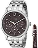 GUESS Men's U0508G1 Classic Silver-Tone Interchangeable Boxed Watch Set with Brown Leather Strap