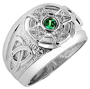 925 Sterling Silver Emerald CZ Men's Celtic Ring with Trinity Knot Band Motif (7)
