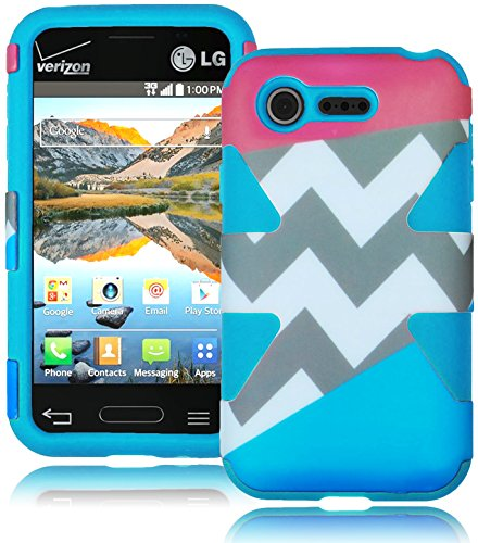 Bastex Heavy Duty Hybrid Case For Lg Optimus Fuel L34C - Soft Sky Blue Silicone Cover With Coral Pink & Sky Blue Split Chevron Design Hard Shell front-713738
