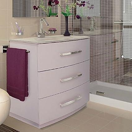 Mobile Arredo Bagno in 3 colori lavabo in cristallo a terra con 3 cassetti Mobili
