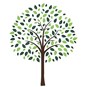 """Fuloon 80"""" tall Large Tree Removable Wall Decal Vinyl Sticker Decor Modern Design Art (trunk is Wine red/leaves is Olive green and lemon green)"""