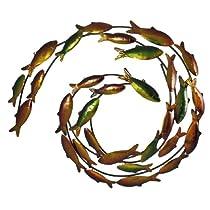 Swirling School of Swimming Fish Metal Wall Art