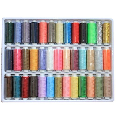 Great Deal! BINGONE 39 Assorted Color Polyester Sewing Thread Spool Set with a Kit Sewing Tools