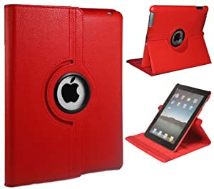 Xtra-Funky Exclusive PU Leather 360 Degree Rotating Smart Case For Apple iPad 2 / 3 / 4 with Auto Wake / Sleep Function + Screen Protector and Soft Tipped Stylus - RED