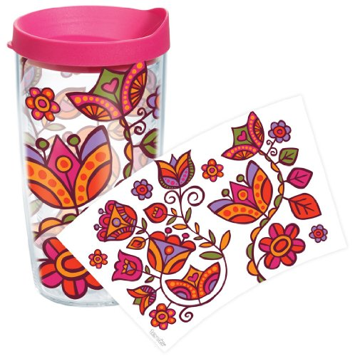 Tervis Molly Z Pink Flowers Wrap Tumbler With Fuchsia Lid, 16-Ounce