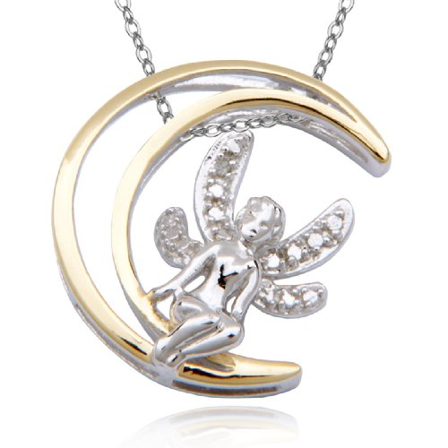 Two-Tone Yellow Gold Plated Sterling Silver Diamond Accent Fairy and Moon Pendant Necklace , 18