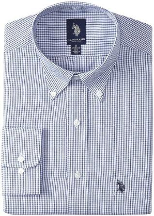 U.S. Polo Assn. Men's Small Grid Dress Shirt, Ocean Blue, 18-18.5/34-35