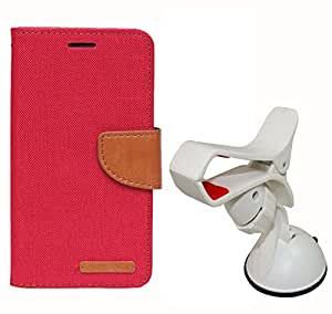 Aart Fancy Wallet Dairy Jeans Flip Case Cover for Micromax-Q372 (Black) + Mobile Holder Mount Bracket Holder Stand 360 Degree Rotating (WHITE) by Aart Store