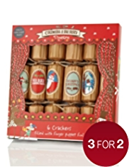 6 Kids Christmas Crackers with Crimbleberry Wood Finger-Puppets & Theatre